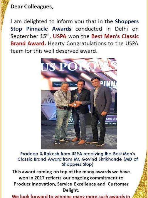 USPA won the Best men's classic Brand Award