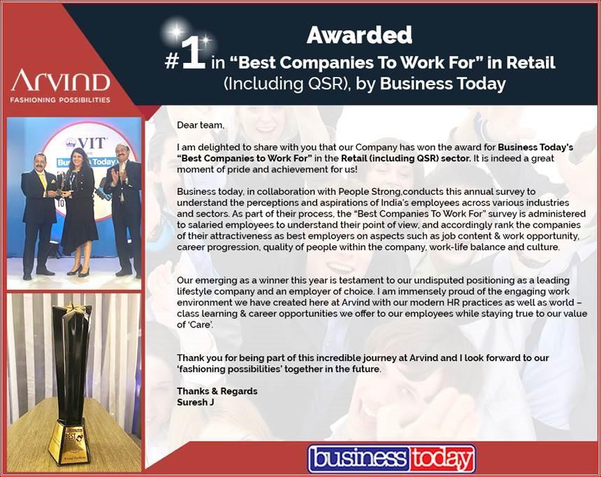 Awards - Arvind Fashions